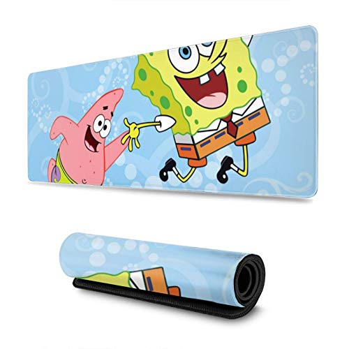 Large Gaming Mouse Pad Spongebob and Patrick Extended Desk Pad for Computers Thick Keyboard Mouse Mat Non-Slip Rubber Base Mousepad 11.8 X 31.5 X 0.12inch