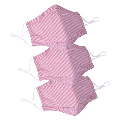 3pcs Washable Reusable Cotton Face Protection Protector Mouth Protection Comfortable Non-Elastic Ear Loops, Unisex (Pink)