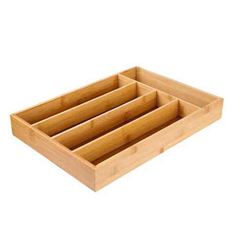 Gazechimp Organizador de Bandeja de Cajón de Cubiertos con Forro de Bambú Soporte de Utensilios de Cocina
