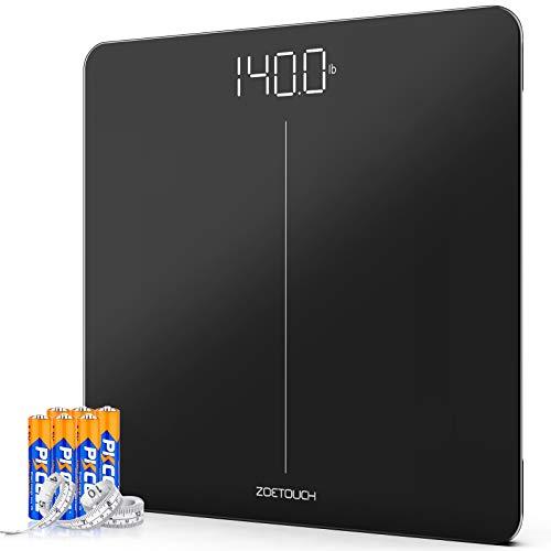 ZOETOUCH - Báscula digital de baño con peso corporal, báscula de pesaje con cinta métrica corporal y 6 baterías, 400 libras