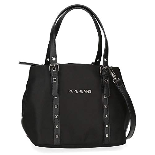 Pepe Jeans Roxanne Bolso Negro 22,5x16,5x19 cms Nailon y Piel Sintética