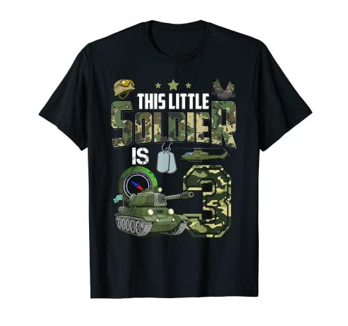 Camiseta de cumpleaos para nios de 3 aos de edad, diseo militar de camuflaje 3 Camiseta