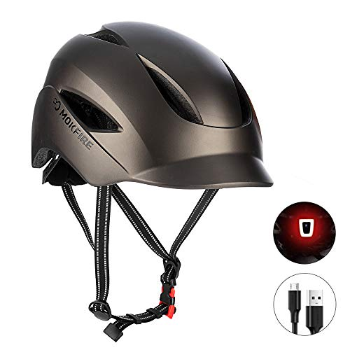 SUNRIMOON Bike Helmet for Adults Men Women Urban Commute with Rechargeable USB Light, Bicycle Cycling Helmet CPSC Certified, Adjustable Size 22.05-24.41 Inches (Matte Titanium)