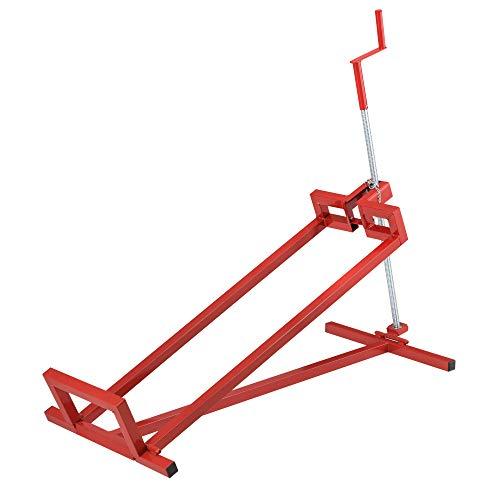 [pro.tec] Elevador para Tractor Cortacésped hasta 400 kg 115 x 51 x 91 cm Soporte elevación Plataforma Elevadora Dispositivo para jardín Ajustable hasta 45° con Manivela - Acero Rojo