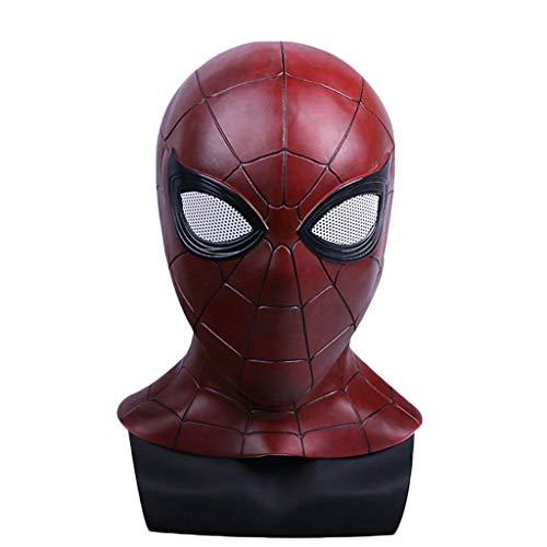 GanSouy Cosplay Masquerade Casco Máscara de Halloween Spider-Man Homecoming máscara para Adultos, Spiderman Hood Casco Comics Hero Headgear Cosplay para Adultos y Adolescentes,Spiderman B-53cm~60cm