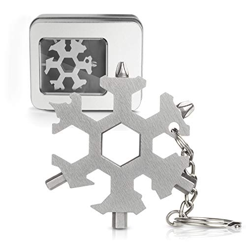 Snowflake Multi Tool 19-in-1 Stainless Steel Multitool Keychain Bottle Opener/Screwdriver/Portable Outdoor Travel Camping Multi Function Pocket MultiTool Gadgets for Men