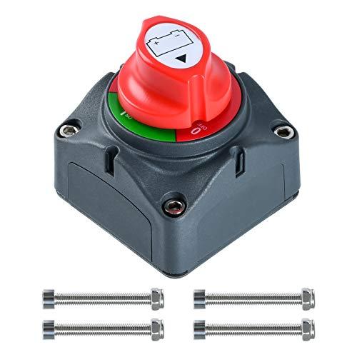 Interruptor de batería Briidea, 12 V-48 V, interruptor principal para autocaravanas, vehículos todoterreno, coches, barcos, UTV, vehículos y autocaravanas (encendido/apagado)