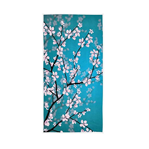 BEETTY Hand Towel Cherry Blossom Face Wash Microfiber Cloth Towel Quick Dry Towel for Bathroom Gym(30x15 Inch)