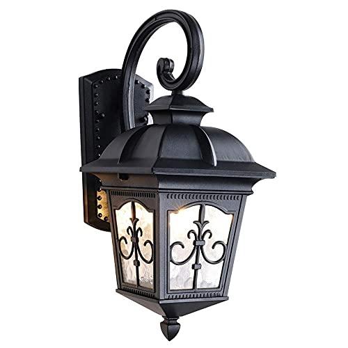BJClight Lámpara de pared para interiores, luz de montaje en pared para exteriores estadounidense, accesorios de acabado en negro mate de aluminio impermeable, aplique de pared exterior, linterna P