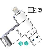 Apple認証【MFI取得 iOS 13 対応) 】iPhone USBメモリ 128gb フラッシュドライブ コネクタ搭載 外付 USB 3.0 容量不足解消 iPad Pro Air/mini iPhone X XS MAX iPod ios用などに対応