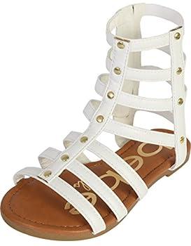 bebe Girls Strappy Gladiator Sandal White 3 M US Little Kid
