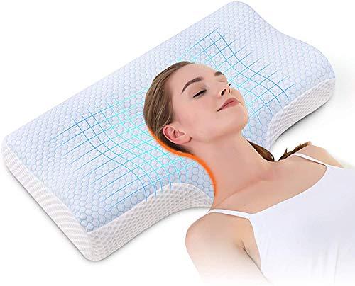 Almohada Ortopedica Cervical Viscoelástica Cuello - Diseño ergonómico para un Mejor Soporte para Dormir en la Cabeza, el Cuello y los Hombros Almohada Antironquidos