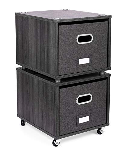 BirdRock Home Rolling File Cabinet with 1 Lateral Drawer – Decorative Storage Shelf for Blankets, Books, Files, Magazines, Toys, etc – Removable Bin with Handles – Under Desk Office Organizer