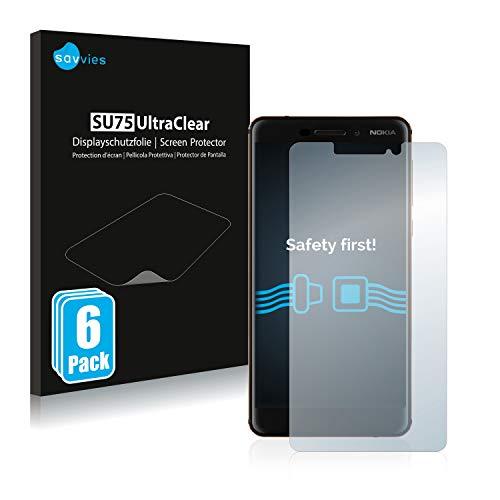 Savvies 6X Schutzfolie kompatibel mit Nokia 6.1/6 2018 Bildschirmschutz-Folie Ultra-transparent
