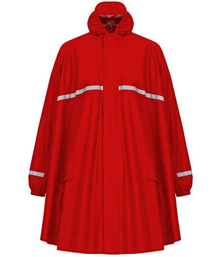 HOCK Regenponcho mit Reissverschluss und Ärmeln - Fahrradponcho Wasserdicht & Atmungsaktiv - Mit Kapuze und Reflektoren - Herren Damen Regenschutz - Hochwertige Regenbekleidung (rot, XL)