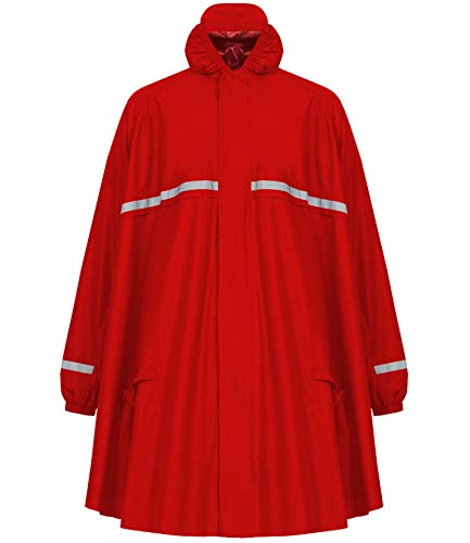 HOCK Regenponcho mit Reissverschluss und Ärmeln - Fahrradponcho Wasserdicht & Atmungsaktiv - Mit Kapuze und Reflektoren - Herren Damen Regenschutz - Hochwertige Regenbekleidung (rot, XXL)