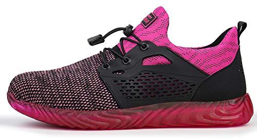 tqgold Herren Damen S3 Sicherheitsschuhe Leicht Sportlich Arbeitsschuhe Schutzschuhe mit Stahlkappe Breathable Comfortable rutschfeste Schuhe(Pink,Größe 39)