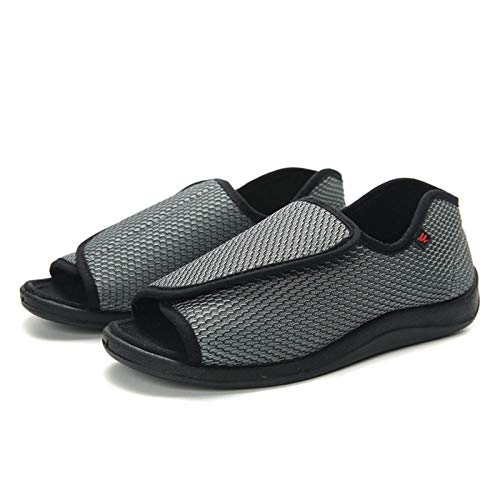 B H Scarpe Diabetiche,Scarpe Slip-Toe Regolabili, Scarpe per Piede diabetico a Piede largo-43_Grigio,Regolabile Pantofola Ortopedica
