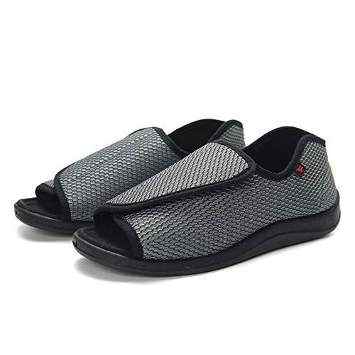 Plantaire fasciitis-trainers Air-schoen, dikke diabetische voetschoenen, verstelbare losse sandalen-UK4.5_gray, orthopedische brede pasvorm voor heren, verstelbare slipper