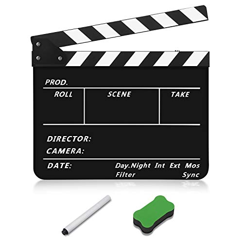 Flexzion Acrylic Plastic Clapboard Director's Clapper Board Dry Erase Cut Action Scene Slateboard for Hollywood Camera Film Studio Home Movie Video 10x12' with Black/White Sticks