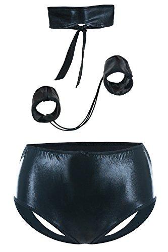 Andalea Schwarzes Wetlook Fessel Set mit Augenbinde aus ouvert Panty und Armfesseln und Fesseln Damen Negligee XXL Plus Size 54/56