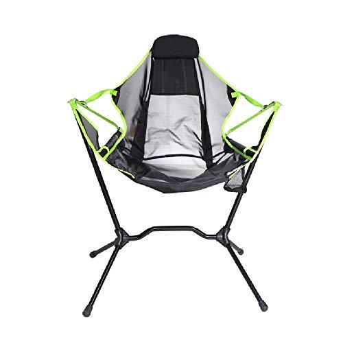 Außen Klappstuhl Ultra-Light Tragbarer Grill Angeln Camping Outdoor-Freizeit Faule Aluminium Rückenlehne Moon Chair,Green