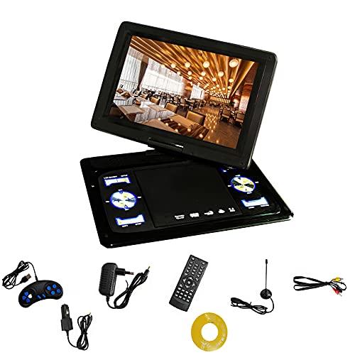 Reproductor de DVD portátil de 35,5 cm / 13,9 pulgadas, reproductor de DVD portátil de 270 grados giratorio, alta definición, TV, antena mando a distancia de 100-240 V CD para el entretenimiento