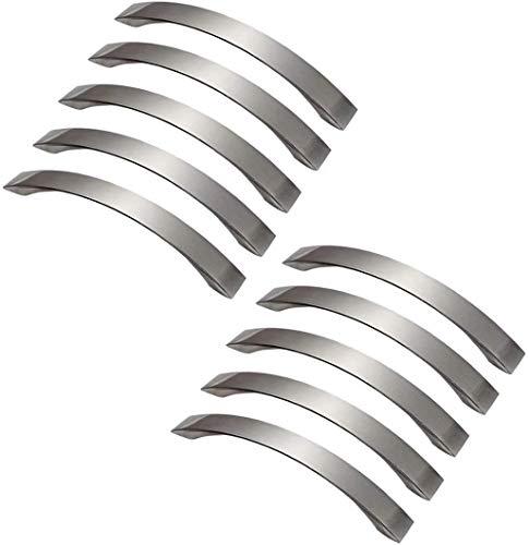 Lote de 10 barras de cocina para arco, armario de acero inoxidable, armario con asas de 128 mm