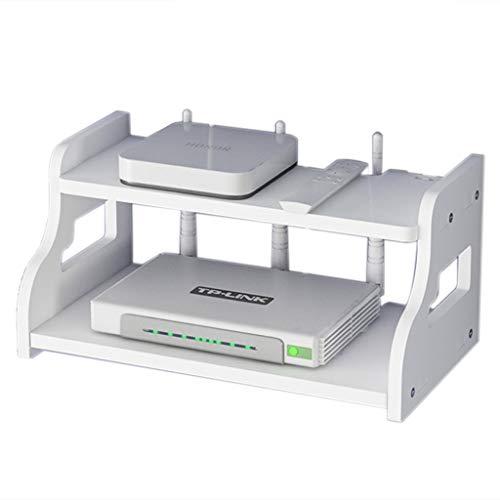 Estante WiFi TV Decodificador Estante Mueble De TV Flotante Sin Necesidad De Perforar La Caja Almacenamiento(el Producto Tiene Solo Un Estante, Sin Decoración) (Color : Blanco, Size : 30 * 20 * 14cm)