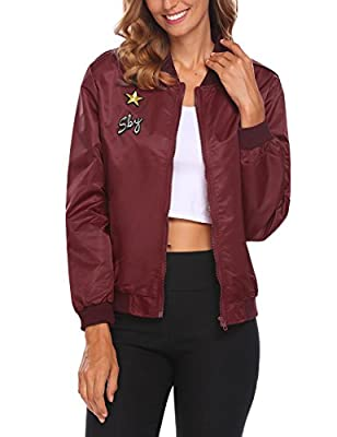 ACEVOG Womens Classic Zipper Floral Printed Jacket Short Bomber Jacket Coat from