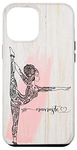 iPhone 12 Pro Max Rustic Namaste Hippie Yoga Woman Mandala Rose Gift Woodgrain Case