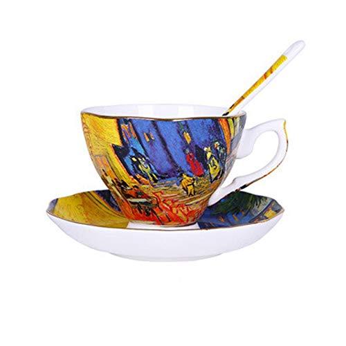 NGHSDO Espressotassen Der Sternenhimmel, Nachtcafé, Sämann, Sonnenblumen, Iris, Aprikose Blumen-Kunst-Malerei Kaffeetasse Tee-Cup 003 (Capacity : About 180ml, Color : B 1 Set)