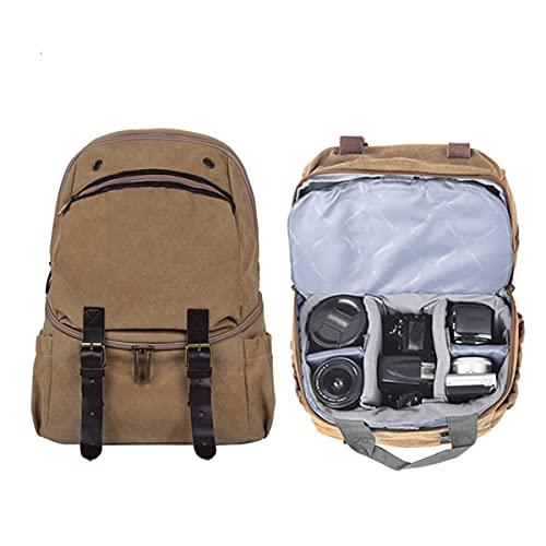Mochila para cámara: Bolsa de Lona Retro Impermeable, Compartimento Desmontable, Compartimentos Superior e Inferior, Utilizado para Viajes, fotografía, Ocio, Trabajo-Khaki||16*30*41cm