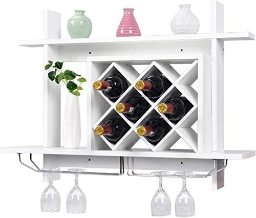 DREAMADE Portabottiglie in Legno Scaffale da Parete per Vino per 6 Bottiglie 80x58,5x20cm