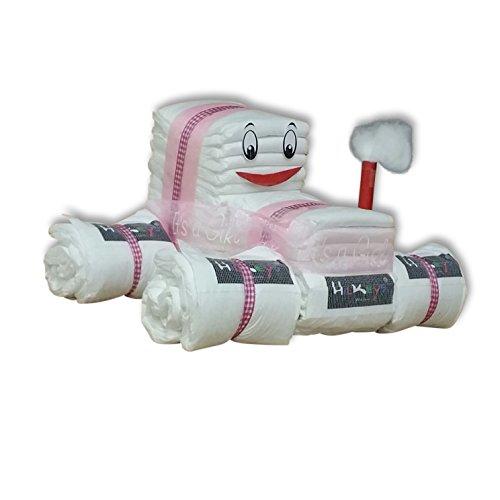 Windeltorte rosa blau Junge Mädchen das perfekte Geschenk zur Geburt oder Taufe (*2*3-6kg*Mini*Der Windeltraktor*, rosa)