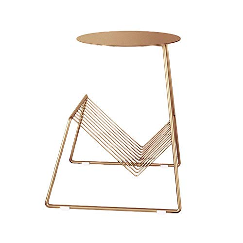 MICEROSHE Home Side Table Metal Side Coffee Table Side Table Mobile Snack Table Furniture Home Bedroom Living Room Decoration Stable and Stylish (Color : Gold, Size : 42x36x55cm)