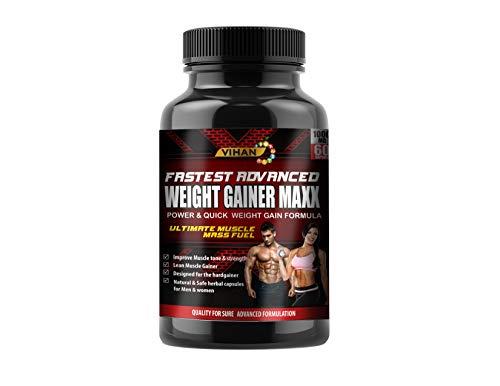 Vihan Weight Gainer Capsule Supplement 1000Mg Capsules For Men And Women - 60 Veg Capsules
