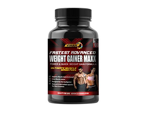 Vihan Weight Gainer Capsule Supplement 1000Mg Capsules For Men And Women - 60 Veg Capsules