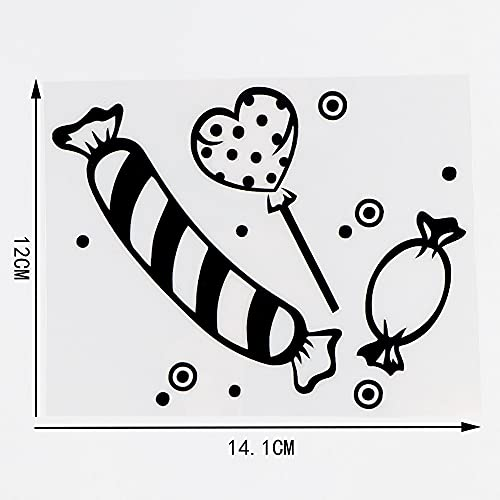 RSZHHL Adesivo per Auto 14,1 × 11 cm Bellissimi Decalcomanie in Vinile Design Moderno Candy Car Stickers Body Decor Nero/Argento 10A-0816
