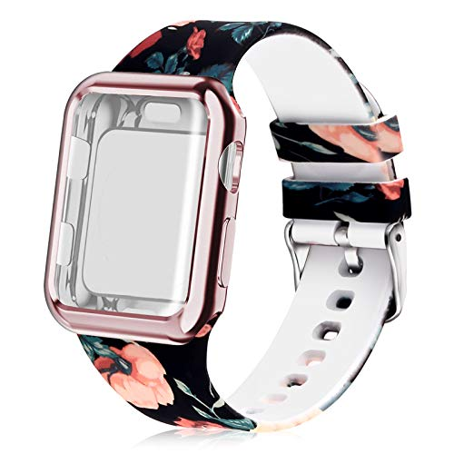 Huishang Compatible para Apple Watch Band 38 mm 40 mm 42 mm 44 mm Mujer con Protector de Pantalla, Silicona Suave Pulsera Deportiva para Apple Watch iWatch Serie 5 4 3 2 1