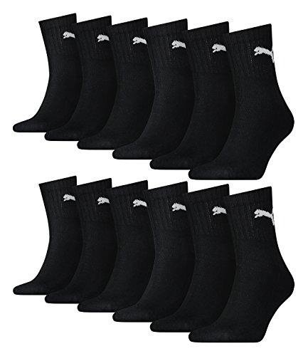 12 Paar Puma Socken Short Crew Sportsocken Tennis Socken Gr. 35 - 49 Unisex, Farbe:200 - black, Socken & Strümpfe:39-42
