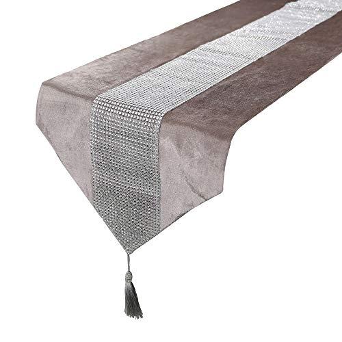 Sdvklly 32 * 180 cm Moderno Rhinestones Tabla Corredor Funda de Almohada Servilleta para la Fiesta de Boda Pastel Floral Flannel Mantel Decoración (Color : 32x210cm tablerunner, Size : Ivory)