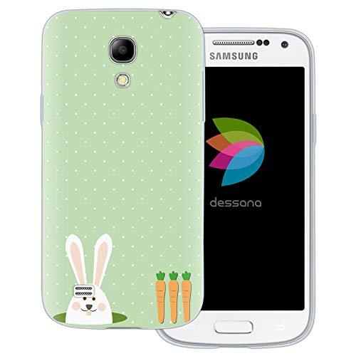 dessana - Cover trasparente per Samsung Galaxy S4 Mini, coniglietto con carote