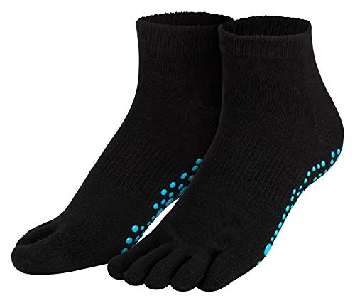 Piarini schwarz 1 Paar Zehensocken kurz ABS Socken aus Baumwolle Socken Yoga Tanzen Pilates Fitness 35 36 37 38