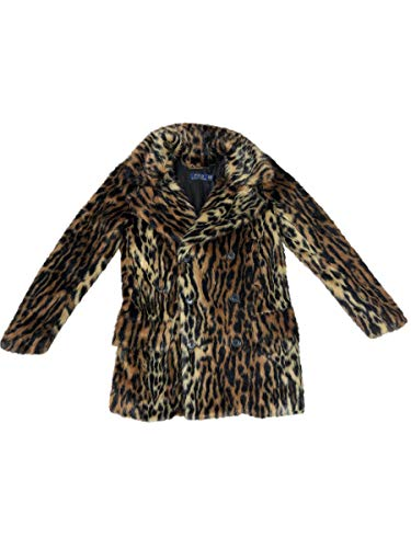 Ralph Lauren Polo Womens Ocelot Print Faux Double Breasted Pea Coat (Medium)