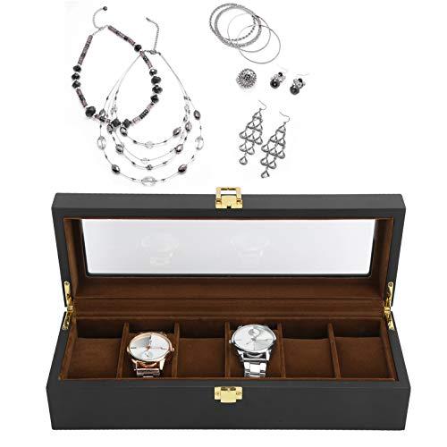Watch Storage Box,Six Grid Watch Box Solid Wood Wristwatch Display Case Packing Black Jewelry Organizer