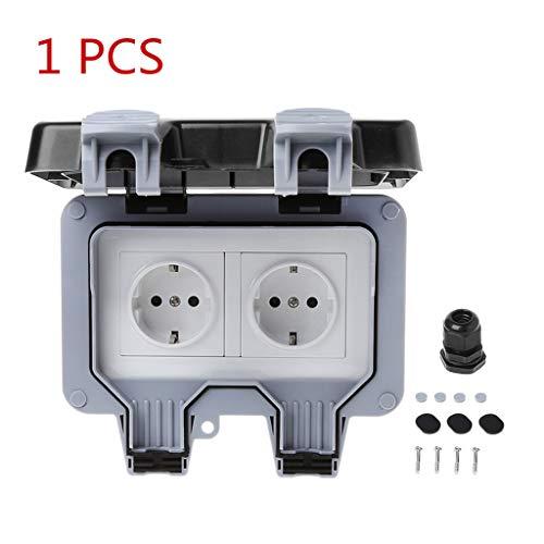 Exing Steckdose EU,2 Typ Wasserdicht und staubdicht Sichereres Design Für den Außenbereich (Double-1 PCS)
