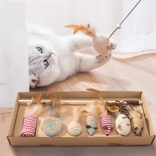 Ryphal Interaktives Katzenspielzeug mit Federn 7 Stücke Katzenspielzeug Federspielzeug für Katzen Holzstab mit Maus