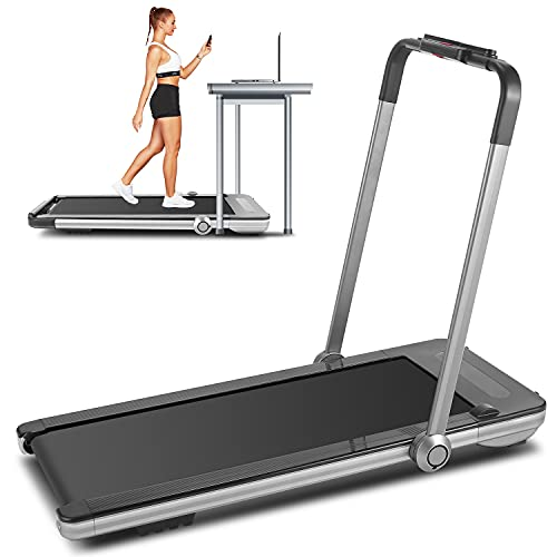 FUNMILY 2 in 1 Under Desk Folding Treadmill, 2.25HP Walking Jogging Running Machine for Home/Office/Gym Fitness, Built-in 5 Workout Modes & 12 Programs, Installation-Free, Silver