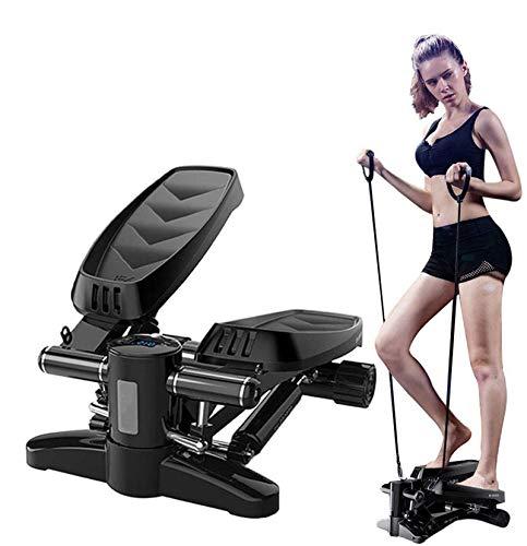 HJKHNK Mini-Stepper mit Zugbändern für Zuhause Side-Stepper LCD Trainingscomputer Kalorienzähler Schrittzähler Timer Fitnessgerät Nutzergewicht bis 150kg
